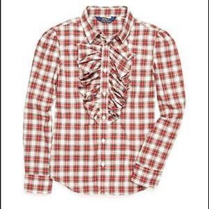 Ralph Lauren tartan plaid ruffle button down shirt